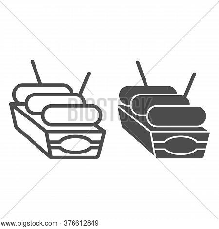 Sausages In Box Line And Solid Icon, Street Food Concept, Street Junk Food Container Sign On White B