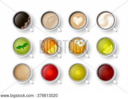 Realistic Vector 3d Cup Of Hot Beverage Set. Teacup With Green, Black Lemon Tea , Mint, Herbal Chamo