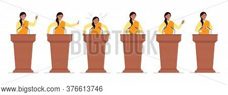 A Female Indian Politician Has A Speech On The Tribune. Different Emotions Of A Political Candidate.