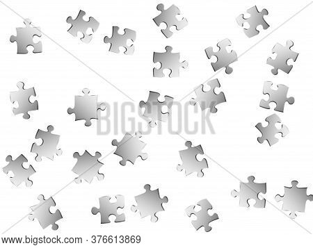 Business Conundrum Jigsaw Puzzle Metallic Silver Pieces Vector Background. Top View Of Puzzle Pieces