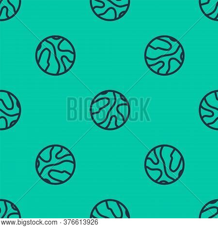 Blue Line Falling Stars Icon Isolated Seamless Pattern On Green Background. Meteoroid, Meteorite, Co