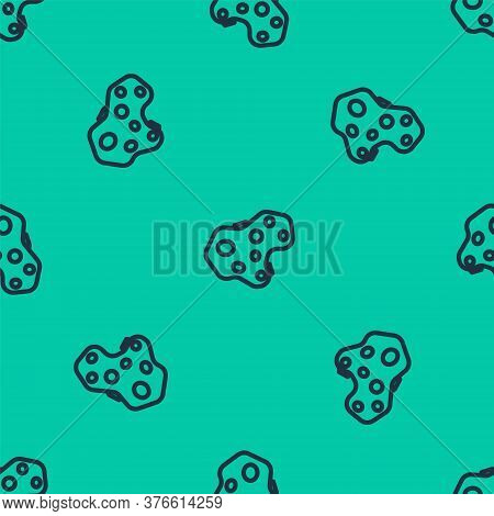 Blue Line Asteroid Icon Isolated Seamless Pattern On Green Background. Vector Illustration