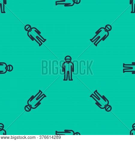 Blue Line Alien Icon Isolated Seamless Pattern On Green Background. Extraterrestrial Alien Face Or H
