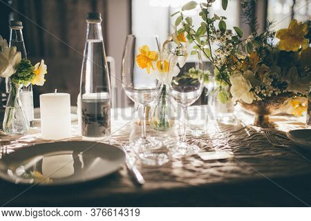 Table Setting For Dinner Or Banquet In Restaurant On The Sunset. Wedding Festive Interior, Table Dec