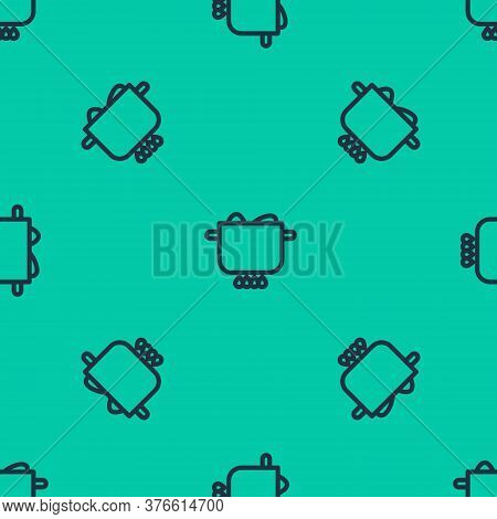 Blue Line Egg In Hot Pot Icon Isolated Seamless Pattern On Green Background. Boiled Egg. Happy Easte