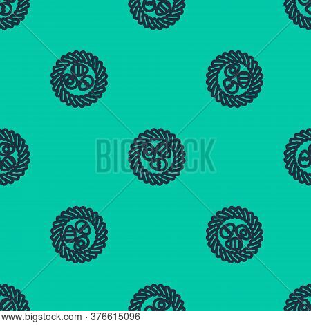 Blue Line Easter Egg In A Wicker Nest Icon Isolated Seamless Pattern On Green Background. Happy East