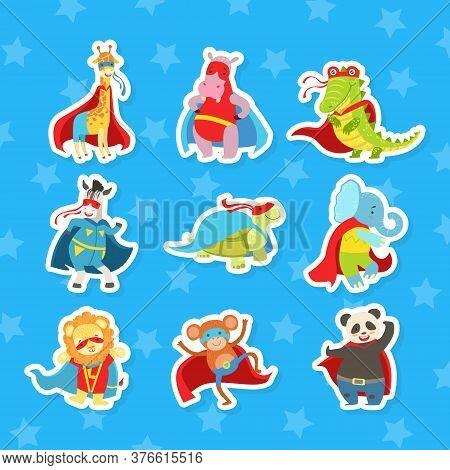 Animals Parents And Babies Stickers Set, Elephant, Monkey, Cloak, Fox, Dog, Panda, Lion, Squirrel, T