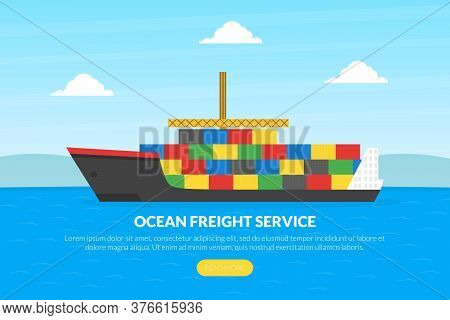 Ocean Freight Service Landing Page Template, Cargo Ship Container, Cargo Logistics And Transportatio
