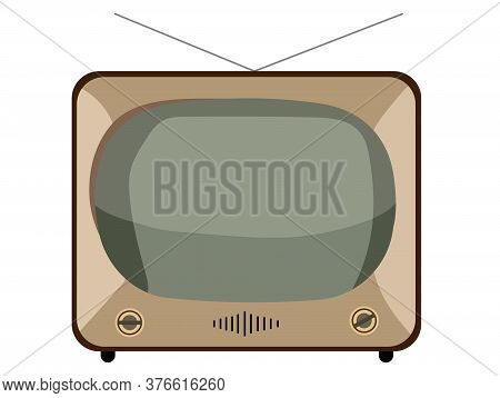 Retro Tv Set. Vintage Television Old Tv Isolated On White Background. Old-fashioned Television Close