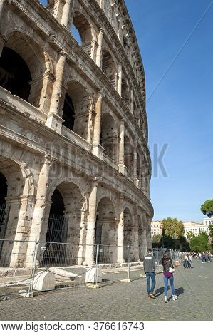 Rome, Italy - October 2019: Colosseum (coliseum) Or Flavian Amphitheatre, Largest Roman Amphitheater