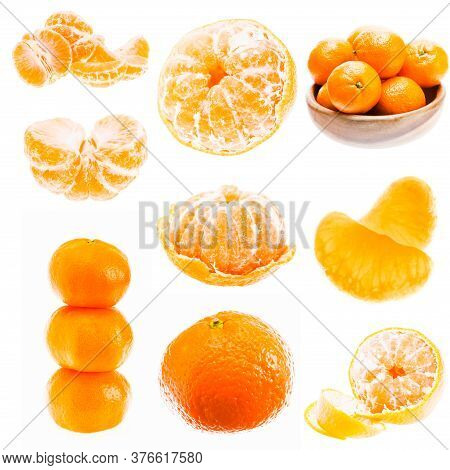 Mandarin Orange Fruits Isolated On White Background. Healthy Food. Mandarins Contain A High Content