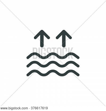 High Tides. Waves On The Sea. Isolated Icon. Weather Glyph Vector Illustration