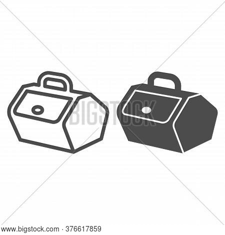 Picnic Basket With Lid And Handle Line And Solid Icon, Picnic Concept, Food Container Sign On White