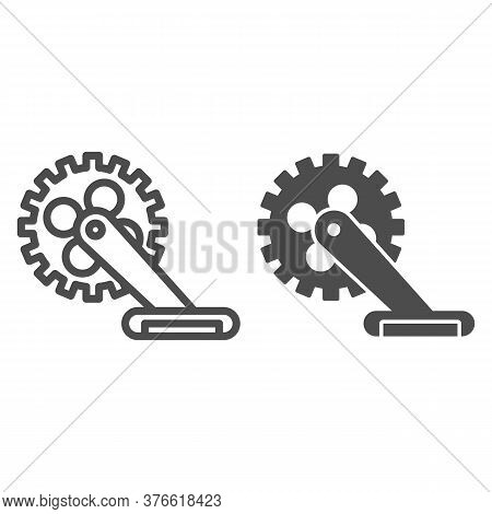 Gear With Pedal Line And Solid Icon, Bicycle Concept, Bicycle Crank Sign On White Background, Bicycl