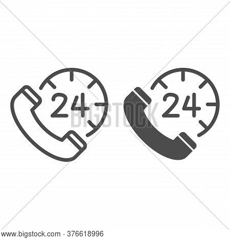 Handset And Clock Line And Solid Icon, Call Center Concept, All-day Customer Support Sign On White B