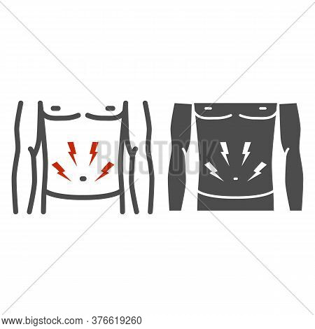 Stomach-ache Line And Solid Icon, Healthcare Concept, Person With Symptom Of Pain In Stomach Sign On