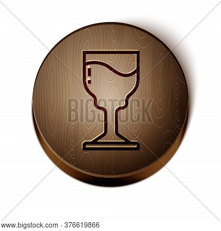Brown Line Wine Glass Icon Isolated On White Background. Wineglass Icon. Goblet Symbol. Glassware Si