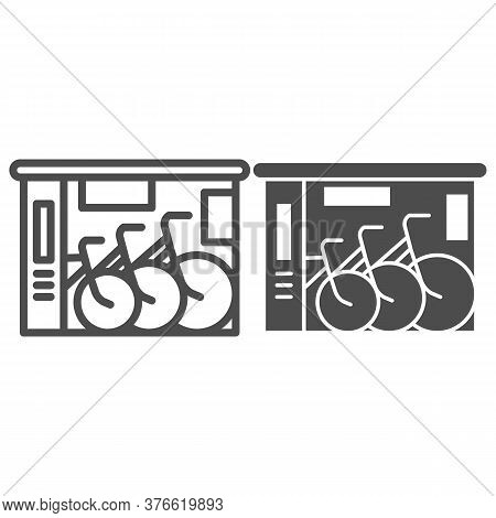 Bicycle Shop Line And Solid Icon, Outdoor Sport Concept, Bike Shop And Service Sign On White Backgro