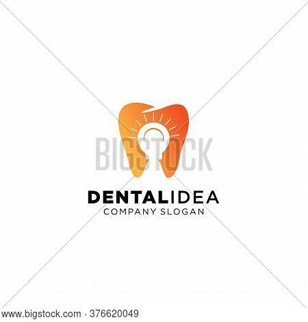 Health Dent Logo Design Vector Template Dental Clinic Logotype Concept With Light Bulb Icon.