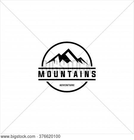 Mountain Logo. Flat Design Logo Template. Vector Illutrator Eps.10, Mountain Design Element In Vinta