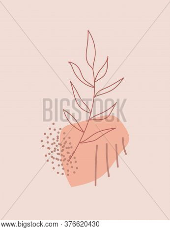 Leaves Line Art With Abstract Geometric Shapes On Neutral Background. Modern Digital Drawing. Fashio