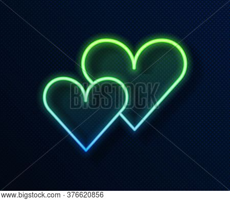 Glowing Neon Line Heart Icon Isolated On Blue Background. Romantic Symbol Linked, Join, Passion And