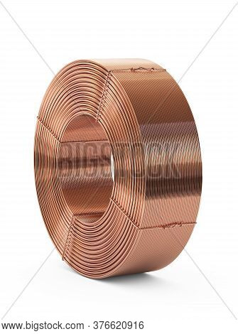 Copper Metal. Pipes Bobbin. Isolated On White Background, Clipping Path Included. 3d Illustration