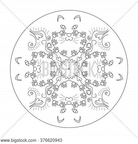 Original Cat Heads Around A Clock, With Cat Paws. Mandala Coloring Page. Vector.