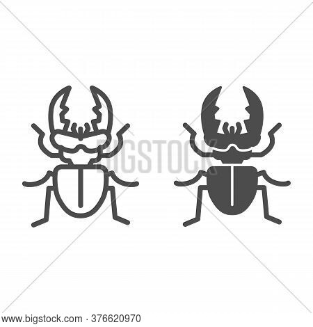 Stag-beetle Line And Solid Icon, Insects Concept, Large Beetle Sign On White Background, Deer Bug Ic