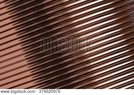 Closeup Of Copper Pipes In  Storehouse. 3d Illustration