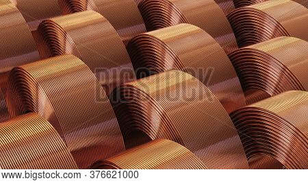 Many Copper Bobbins, Warehouse Copper Pipes. 3d Illustration.