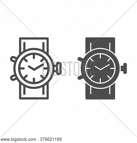 Mechanical Watch Line And Solid Icon, Shopping Concept, Clock Sign On White Background, Wrist Watch