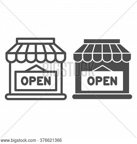 Open Shop Building Line And Solid Icon, Market Concept, Store With Open Signboard On White Backgroun