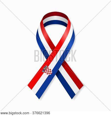 Croatian Flag Stripe Ribbon On White Background. Vector Illustration.