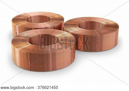 Pipe Bobbins. Copper Metal On A White Background, 3d Illustration