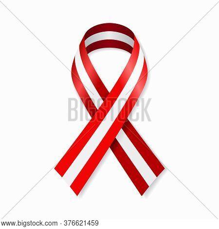 Austrian Flag Stripe Ribbon On White Background. Vector Illustration.
