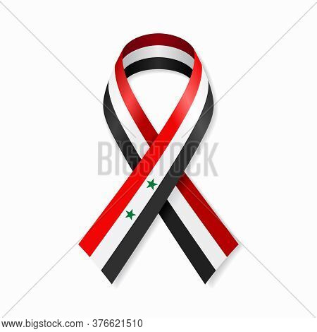 Syrian Flag Stripe Ribbon On White Background. Vector Illustration.