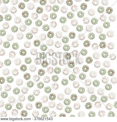 Christmas Meringue Candy, On A White Isolated Background White And Green Christmas Candies. Christma