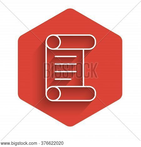 White Line Decree, Paper, Parchment, Scroll Icon Icon Isolated With Long Shadow. Red Hexagon Button.