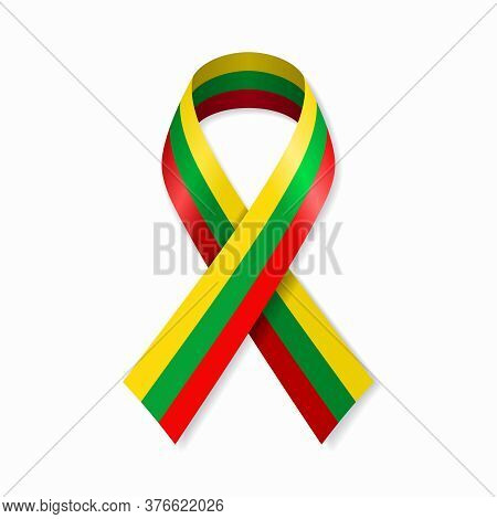 Lithuanian Flag Stripe Ribbon On White Background. Vector Illustration.