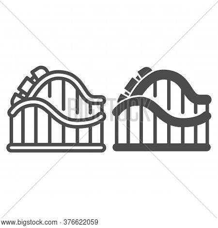 Roller Coaster Ride Line And Solid Icon, Amusement Park Concept, Amusement Ride Sign On White Backgr