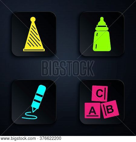 Set Abc Blocks, Party Hat, Wax Crayon For Drawing And Baby Bottle. Black Square Button. Vector