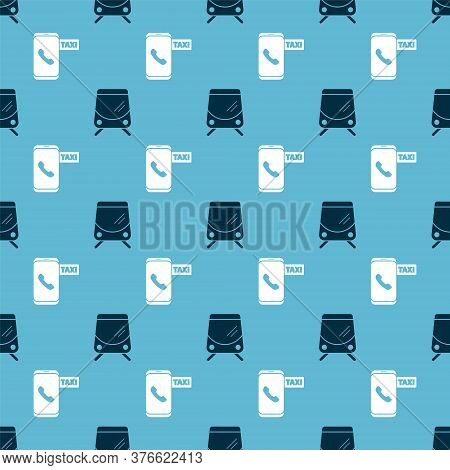 Set Tram And Railway And Taxi Call Telephone Service On Seamless Pattern. Vector