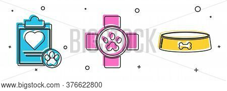 Set Clipboard With Medical Clinical Record Pet, Veterinary Clinic Symbol And Pet Food Bowl Icon. Vec