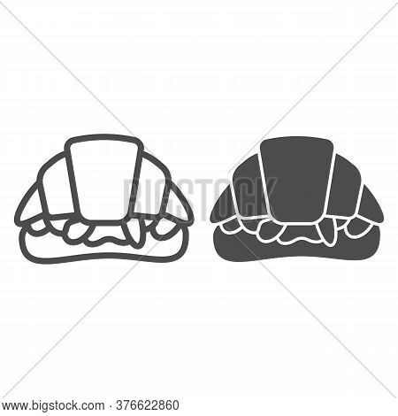 Croissant Sandwich Line And Solid Icon, Street Food Concept, French Snack Sign On White Background,