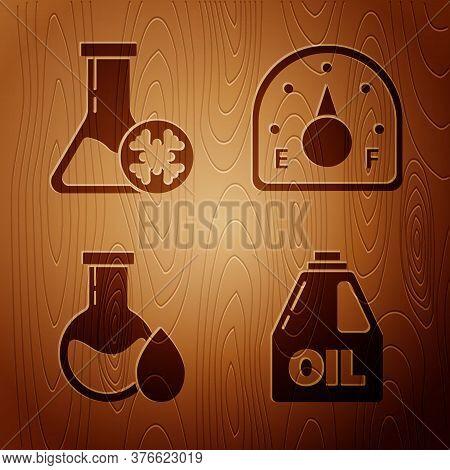 Set Canister For Motor Machine Oil, Antifreeze Test Tube, Oil Petrol Test Tube And Motor Gas Gauge O