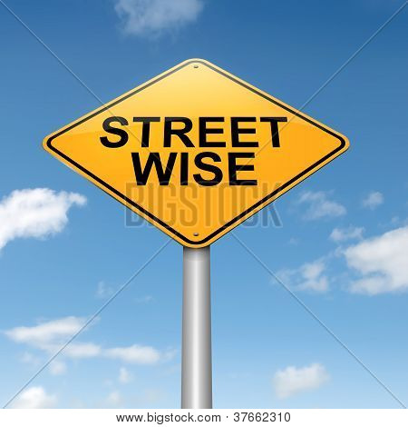 Illustration depicting a roadsign with a streetwise concept. Sky background. poster