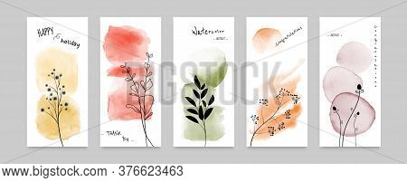 Set Of Cards Abstract Doodle Autumn Flowers Design Combined With Stain Hand-painted Watercolor Backg