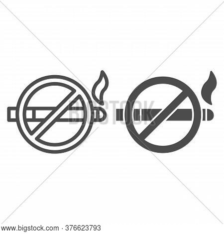 No Smoking Sign Line And Solid Icon, Nicotine Concept, Smoke Prohibited Sign On White Background, Sm