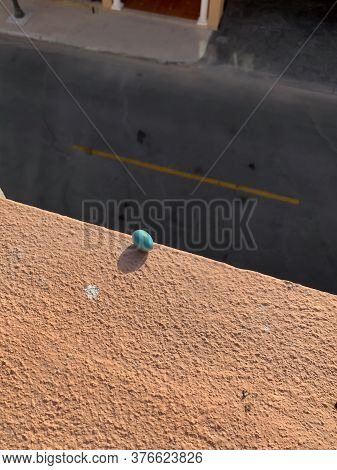 Turquoise Indian Myna Egg That Fell Out Of Nest Teetering On Edge Of Ledge Three Floors Above The Ro